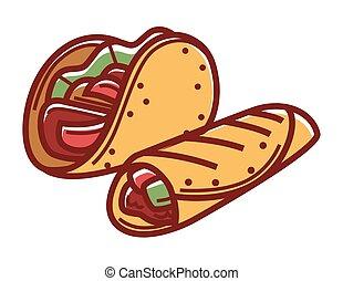Crispy taco and buriito in pita bread isolated illustration...