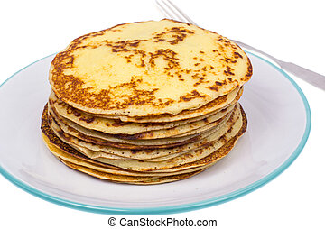 Crispy thin pancakes on plate, light background