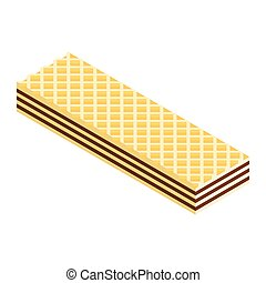 Crispy wafer, chocolate cream flavor isometric view isolated on white background. Vector