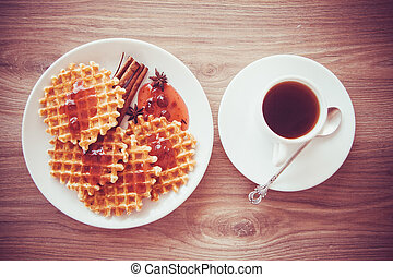 crispy waffles on plate