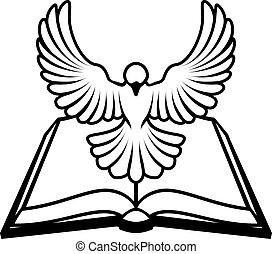 cristão, bíblia, pomba, conceito
