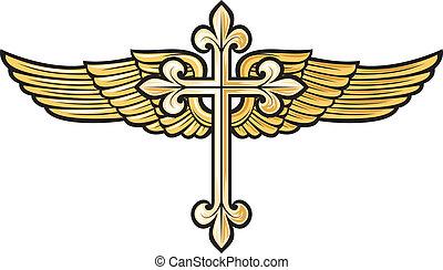 cristão, crucifixos, com, asa