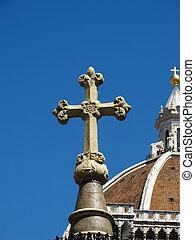 cristão, crucifixos, com, basílica, em, fundo