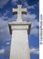 cristão, crucifixos, com, céu azul