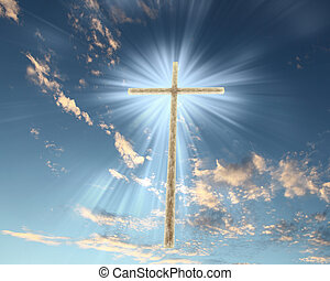 cristão, crucifixos, contra, a, céu