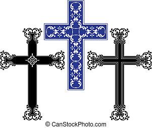 cristão, crucifixos, desenho