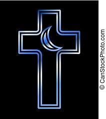 cristão, crucifixos, e, islamic, crescente, símbolos, vetorial, ilustração