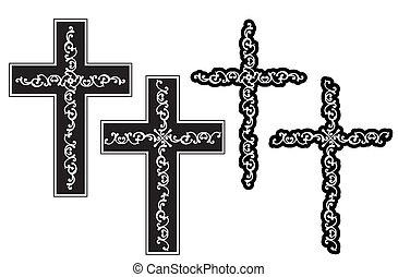 cristão, desenho, crucifixos