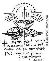 cristão, eucaristia, ilustração, símbolos, tinta, frase