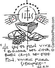 cristão, eucaristia, símbolos, e, frase, tinta, ilustração
