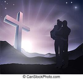 cristão, páscoa, família, conceito