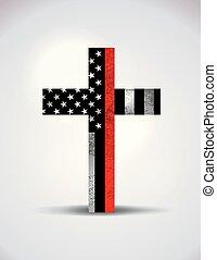 cristão, símbolo, bombeiro, apoio, crucifixos