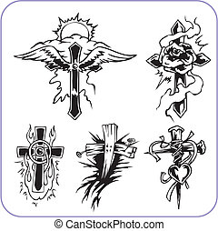 cristão, símbolos, -, vetorial, illustration.