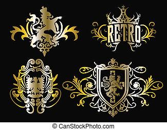 crista, desenho, escudo, fantasia