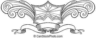 crista, linha arte, escudo, onda