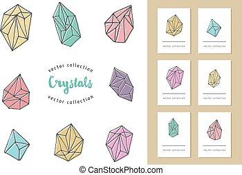 cristais, elementos, -, mão, desenhado