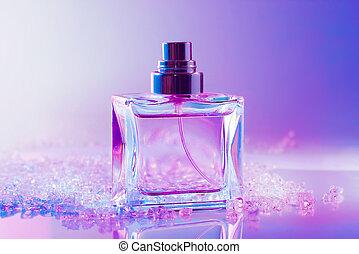 cristais, garrafa, perfume
