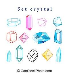 cristais, vetorial, jogo