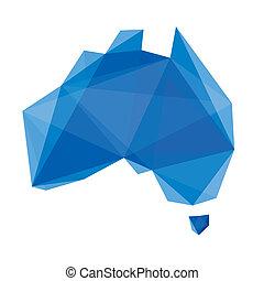 cristal, aimer, carte, de, australie