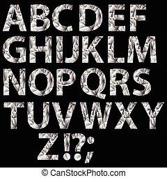 cristal, alfabeto