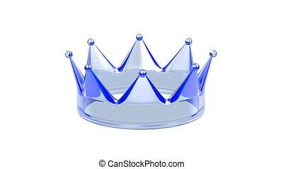 cristal, bleu, couronne