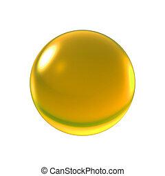 cristal, boule jaune