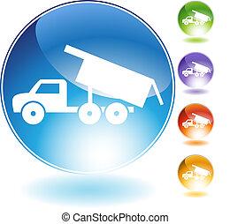 cristal, camion, décharge, icône