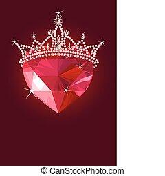 cristal, coeur, couronne