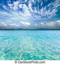 cristal compensa, mar, de, ilha tropical