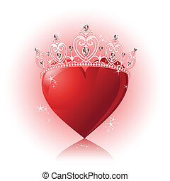 cristal, corazón, con, corona