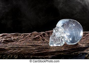cristal, cranio, ligado, esfumaçado, escuro, armando