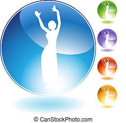 cristal, dançarino, pessoas, barriga, ícone