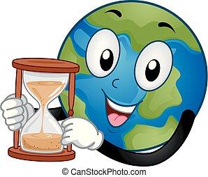 cristal de la hora, ilustración, mascota, tierra