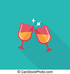 cristal de martini, aclamaciones, plano, icono, con, largo,...