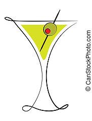 cristal de martini, con, aceituna