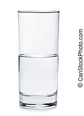 cristal del agua, lleno, mitad