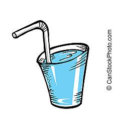 cristal del agua, paja