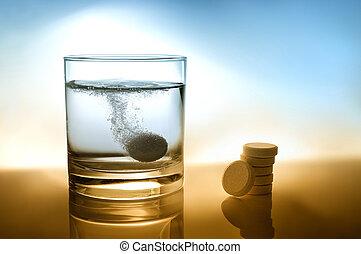 cristal del agua, pastilla efervescente