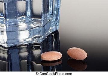 cristal del agua, tabletas, statin
