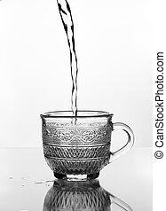 cristal del agua, taza, el verter