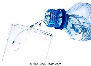 cristal del agua, vertido, puro, botella
