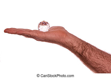 cristal, em, mão