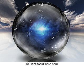 cristal, energía, dentro, esfera, contenido, misterioso