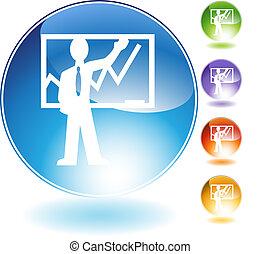 cristal, enseignement, icône, instructeur