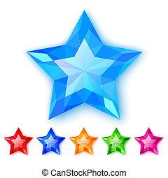cristal, ensemble, étoiles