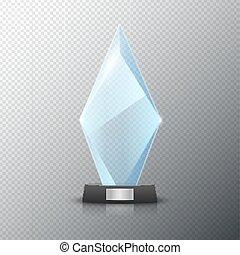 cristal, experiência., vetorial, luminoso, isolated., desenho, distinção, em branco, vencedor, troféu, vidro, lustroso