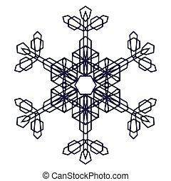 cristal, gráfico, copo de nieve