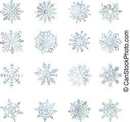 cristal, gráfico, estrela, snowflakes, símbolo, aquarela, vetorial, decoração