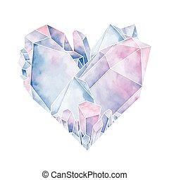 cristal, graphique, coeur