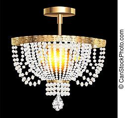 cristal, lustre, moderne, pendentifs